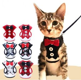 Опт Кошка собака жгут жилет с поводок Боути джентльмен костюм смокинг милый бантом куртка + поводок набор Cat поставки
