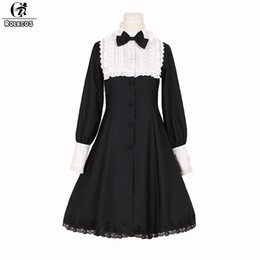 06c96eb6e21 ROLECOS New Arrival Autumn Women Lolita Dresses Long Sleeve Color Black  White Vintage Gothic Style Lolita Dresses
