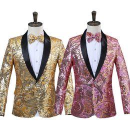 2018 Mens Pink Gold Flower Sequins Fancy Paillette Cantante de Boda Chaqueta de traje de rendimiento de la etapa anual DJ Blazer con pajarita