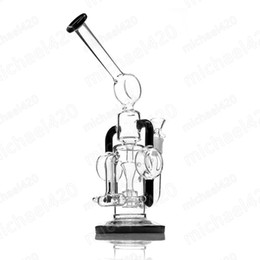 Special Design Oil Rigs NZ - New glass bong special design each independent space glass water pipe oil rig recycler 12.5 inches 14mm female joint