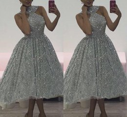 Pictures fit online shopping - 2018 Charming Silver Sequins Prom Dresses Halter Plus Lace Sleeveless Soft Fitting Hi Low High Quality Cocktail Party Dresses