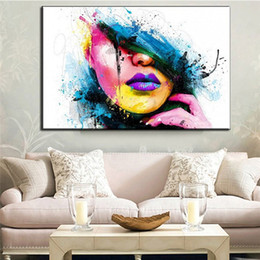 Painting Faces Australia - Home Decor--Fashion Spray Painting Colorful Beautiful Face Oil Painting Decoration For Home Simple And Modern