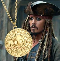 $enCountryForm.capitalKeyWord Canada - Classic movie accessories Pirates necklace 18 K Gold coin Aztec coins men's Skull Necklace Pendant