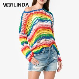 wholesale Oversized Sweater Hollow Out O Neck Long Sleeve Loose Women  Sweater Striped Rainbow Sweater Knit Pullover Streetwear 4d6bcc9ac