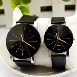 Round Clock Men Canada - 2017 Relogio Masculinos Men's Quartz Watches Men Women Luxury Leather Clock Business Round Case Hour Watch Relojes Hombre
