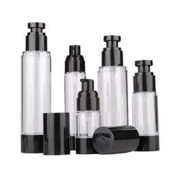 cream container pump NZ - 15ml 30ml 50ml Empty Black Airless Lotion Cream Pump Plastic Container Vaccum Spray Cosmetic Bottle Dispenser For Travel Doubtless Bay