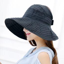 Women Packable Crushable Roll Up Wide Brim Sun Visor Beach Hat Large Brim  Hat Summer Ladies Sun Vacation Empty Top Caps 6e66b447803