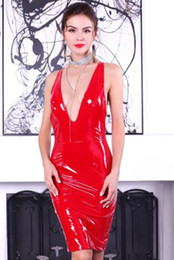 Wholesale red latex women costumes for sale – halloween Cosplay Halloween Costumes Sexy deep V PVC latex sleeveless split zip party dress