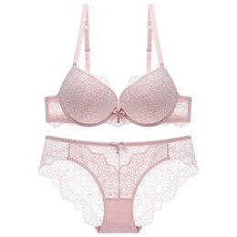 38b bra panty set UK - sexy underwear women set lace transparent bra and panty sets push up 2018 new 3 4 cup adjustable lingerie three quarters