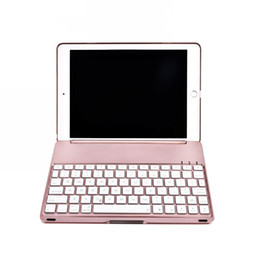aluminum wireless bluetooth ipad keyboard NZ - Flip Pad Cases for 2017 New Pad 9.7 Inches Pad Air with Wireless Bluetooth 3.0 Keyboard Case Backlit C085 Tablet Cover