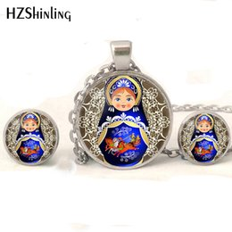 Earrings Glasses Australia - NR-004 Tradition Russian Doll Jewelry set Matryoshka Necklaces Handmade Russian Dolls Glass Cabochon Stud Earrings Wholesale