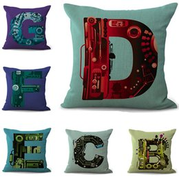 alphabet cushions pillows Canada - 26 alphabet Pillowcase Bohemian bed letter Pillowcover Cotton Linen Ethnic car Pillow Cover Bedroom sofa Throw Cushion Pillow case