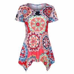 $enCountryForm.capitalKeyWord UK - floral asymmetrical dress printed shorts sleeve women pullover Bohemia style summer dress shirt flower pattern O-neck T-shirts