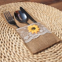 rustic burlap lace wedding Canada - Wholesale Natural Jute Lace Pockets Rustic Wedding Tableware Packaging Fork & Knife Burlap Holder Cutlery Pocket