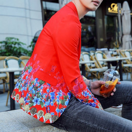 $enCountryForm.capitalKeyWord Canada - Hot Red Slim Fit Blazer Male Vintage Flower Mens Blazer Hombre Prom Blazers For Men Wedding Male Suit Jacket Korean S-3XL