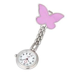 Discount quartz butterfly watch women - Timezone#30 Clip-on Fob Brooch Pendant Hanging Watch Women Butterfly Design Unisex Watches Fashion Doctor Nurse Pocket W