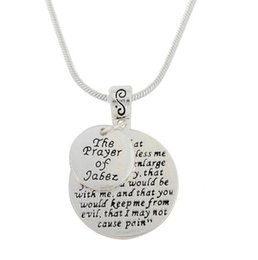 $enCountryForm.capitalKeyWord UK - lemegeton Dropshipping Cheap Silver Color Engraved Message The Prayer of Jabez Spiritural and Mendtal Prayer Snake Chain Necklace Jewelry