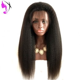 Kinky Straight Hair For UK - Long yaki kinky Straight brazilian Full Lace front Wigs with Baby Hair Heat Resistant Glueless Synthetic Lace Wigs for Black Women