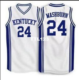 e805a66ff2cc Men  24 Jamal Mashburn Kentucky Wildcats Mesh fabric Full embroidery College  jersey Size S-4XL or custom any name or number College jersey