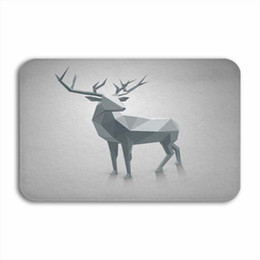 kitchen mat rug NZ - Vixm Polygonal Illustration Design Of Stag Christmas Infographic Welcome Door Mat Rugs Flannel Anti-slip Entrance Indoor Kitchen Bath Carpet