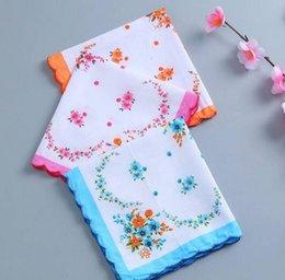 Têxteis para o lar quente 100% Lenço De Algodão Lenço Das Senhoras Lenço Ofício Do Vintage Floral Lenço De Casamento Floral 30 * 30 cm Cor Aleatória