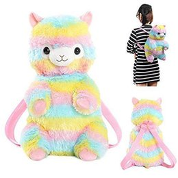 Wholesale Kids Kawaii Baby Sheep Backpack Rainbow Alpaca Doll Soft Plush Children School Storage Bag Mud Horse Bags MMA767
