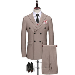 2018 Men's New Double Breasted Solid Stripe Suit Groom wedding dress Fashion high-end business party costume (Jacket+pants+vest)
