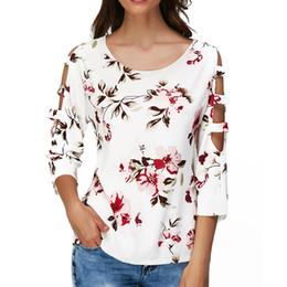 flower cutouts 2019 - 2018 New Women Casual Tops Fashion Flower Print O-Neck Cutout Hollow Out Female Tee Three Quarter Sleeve T Shirt For Gir