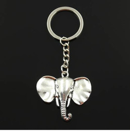 $enCountryForm.capitalKeyWord NZ - Fashion 30mm Key Ring Metal Key Chain Keychain Jewelry Antique Silver Plated big ear elephant 44*40mm Pendant