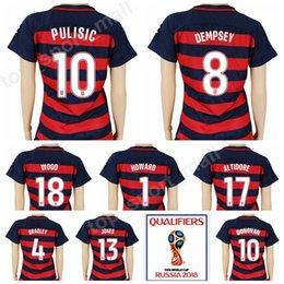 0638ac24e Women PULISIC Jersey 2018 World Cup Soccer Lady 4 BRADLEY Football Shirt  Kits 8 DEMPSEY 13 JONES 17 ALTIDORE 7 BEASLEY 10 DONOVAN Woman Thai