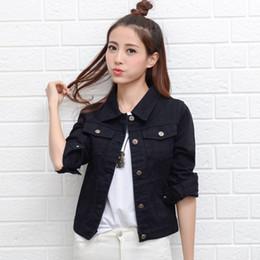 Short Sleeve white denim jacket online shopping - Red White Pink Denim Jacket Female Slim Basic Coat Spring Autumn Womens Jeans Jacket Jaqueta Fashion Ladies Coat Classic