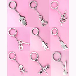 $enCountryForm.capitalKeyWord Canada - Stainless Steel Key Chains & Pendant Mix 9 Styles Boy Girl Scorpion Heart Love Arrow Key Lock Skull Dragonfly Guitar Unisex Keyring (JK026)