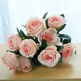 bunch white rose NZ - Korean Fake Rose Bunch (12 heads bunch ) Simulation Roses for Wedding Home Showcase Decorative Artificial Flowers
