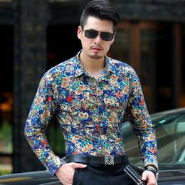 $enCountryForm.capitalKeyWord Canada - Baroque Gold Floral Shirt Men Luxury Design Mens Dress Shirts Chemise Homme Milk Silk Long Sleeve Gold Bronzing Men Shirts XXXL