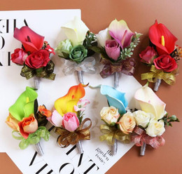 orange corsage flowers 2019 - Boutonniere Wedding Corsages and Boutonnieres Ribbon Roses Callas Silk Flower Boutonnieres Groom Men Mariage Wedding Acc