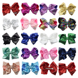 Baby Sequin Hair Clips Wholesale Australia - 8 inch Jumbo Sequin Rainbow Bow Hair Clip For Girls Kids Boutique Knot Girl Hairbow Glitter Hairgrips Baby Hair Accessories