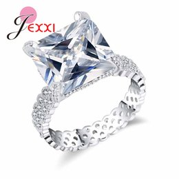 Hollow Fingers Australia - whole saleJEXXI Fashion Hollow out Finger Ring Shiny Crystal Engagement 925 Sterling Silver Rings For Women Wedding Party Ring