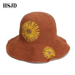 Sunflower Hats Australia - Cute Sunflowers Handmad Straw Beach Hat Girl Wide Brim Foldable sun caps Flower panama straw fedora women's travel hats Gift