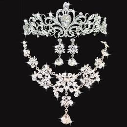 Brillante boda cuervos accesorios de la boda dama de honor accesorios accesorios nupciales conjunto envío gratis (corona + collar + pendientes)
