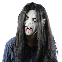 Back Hair Men Canada - Scary Mask Halloween Toothy Zombie Bride With White Hair Horror Ghost Mask