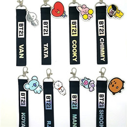Cute mobile keyChains online shopping - BTS BT21 Cute Key Buckle Plastic Cartoon Characters Alloy Key Rings Idol Star Chase Commodity Pendant Mobile Phone Key Chains lz hh