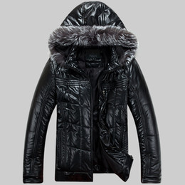 Mens Parka Leather Canada - Mens Leather Down Cotton Jackets Winter Parkas Snow Coats Fur Hooded Thick Outwear Overcoat Super Warm Waterproof Windbreak 5xl