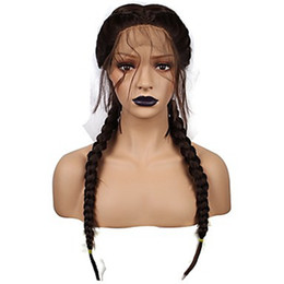 Micro Braided Wigs UK - synthetic micro box braid lace front wig with heat resistant fiber long Brazilian african american black woman with baby hair