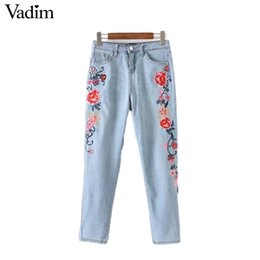 floral print skinny jeans Canada - Vadim women floral embroidery denim jeans pockets skinny slim pencil pants European style ladies brand trousers KZ964