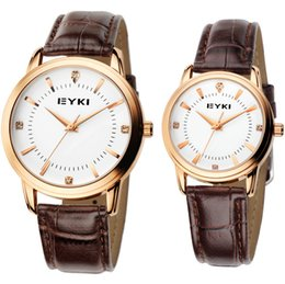 $enCountryForm.capitalKeyWord Canada - EYKI brand watch with round dial for lovers wrist quartz watch with leather strap water proof couple simple fashion