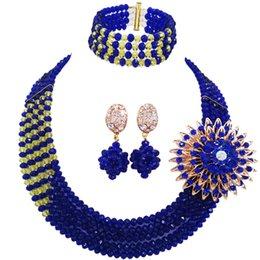 Toptan satış Kraliyet Mavi Sarı Nijeryalı Düğün Afrika Boncuk Takı Seti Kristal Boncuklu Kolye Setleri Gelin Takı Setleri 5RJZ36