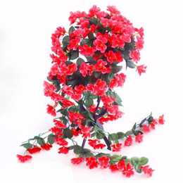 China Artificial Violet Flower Wall Wisteria Basket Hanging Garland Vine Flowers Fake Silk Orchid Simulation Rattan Plant Vine Wedding Home Mounte suppliers