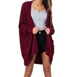Puntada abierta Mujeres Suéter de Punto Cardigan Mujer Tejer Cálido  Suéteres de Invierno Tallas grandes Outfit Casual bolsillos Otoño Top GV141 3c266f095c8e