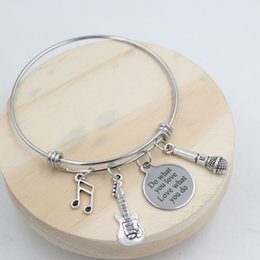 Chinese  New Arrival Stainless Steel Bangle Wire Adjustable Expandble Bangle Musician Bangle Music Note Guitar Microphone Charm Bracelet Muscian Gift manufacturers