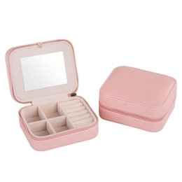 Easy sky online shopping - Square Jewelry Storage Box Creative Easy To Carry Organizer Rings Earring Necklace And Bracel Leather Boxes With Mirror sh BB